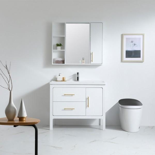 Luxury Modern Blue White 40 Single Sink Bathroom Vanity With Sink Drawers Medicine Cabinet Included Modern Blue White 40 Single Sink Bathroom Vanity With Sink Drawers Medicine Cabinet Included