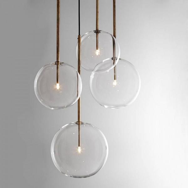 Modern Clear Glass Pendant Lights dia 15/20/25/30CM glass ball lamp shade G4 led dining room restaurant hanging lamp Luminaire