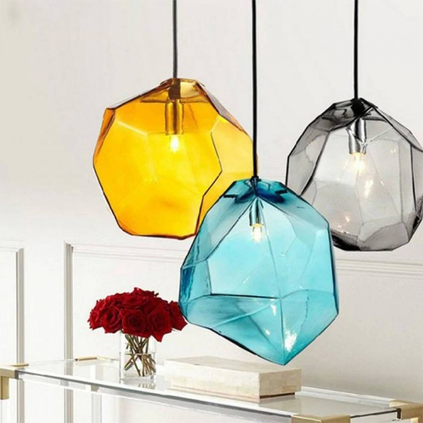Modern colorful glass pendant light hanging lamp,6 colors G9 led suspension lamp for bar restaurant industrial lighting fixture