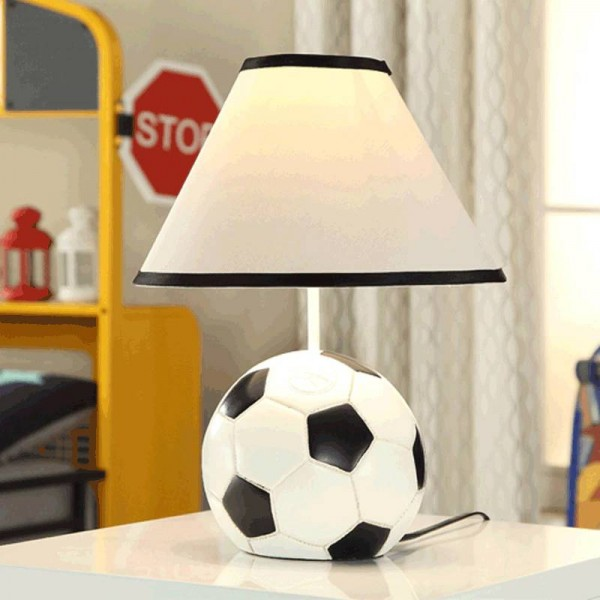Modern football resin table lamps cloth lampshade resin base art deco table light for bedroom bedside cartoon lighting fixture