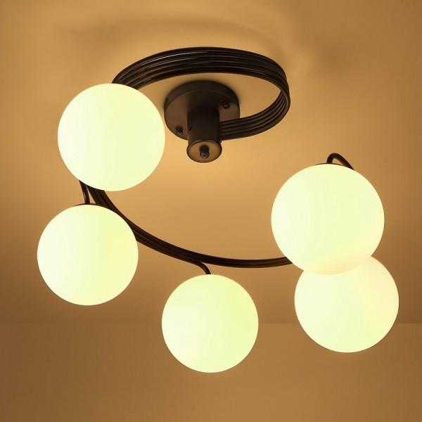 Modern Globe Glass Shade Black Metal Swirl Arm 3-Light/5-Light Semi Flush Mount Ceiling Light