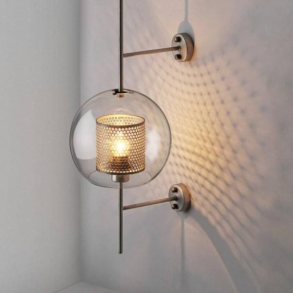 Modern LED Wall Light Transparent Glass Shade Scones Wall Lamps Bedroom Bedsides Restaurant Study Hang Lamps Loft Iron Fixtures