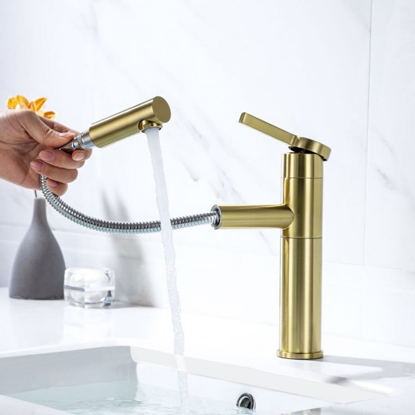Luxury Modern Luxury Brushed Champagne Single Handle One Hole Bathroom Sink Faucet With Pull Out Sprayer Solid Brass Modern Luxury Brushed Champagne Single Handle One Hole Bathroom Sink Faucet With Pull Out Sprayer