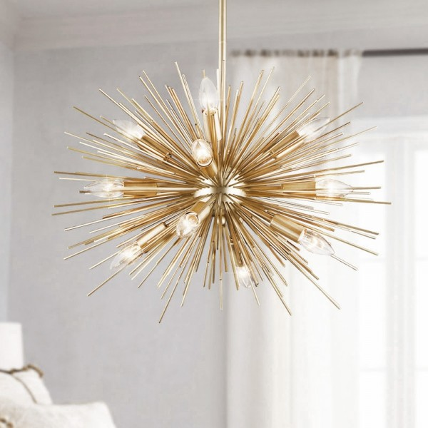 Modern Luxury Starburst 12 Exposed Light Metal Orb & Aluminum Rods Large Chandelier in Gold