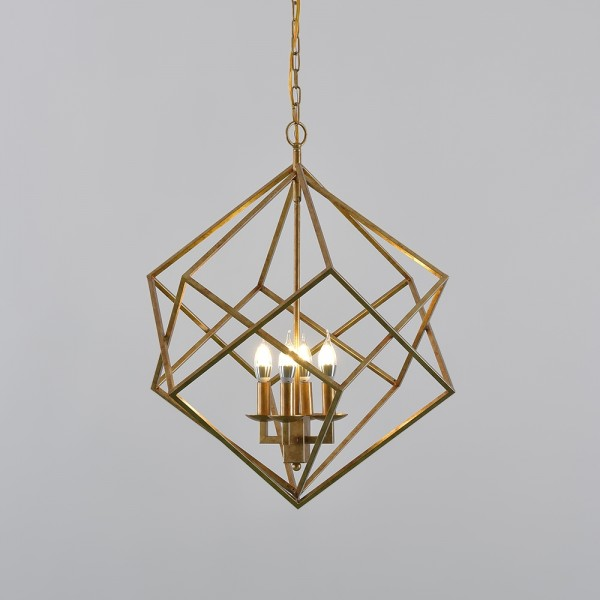 Modern Mid-Century Square Geometric Candle Chandelier 4-Light Antique Gold
