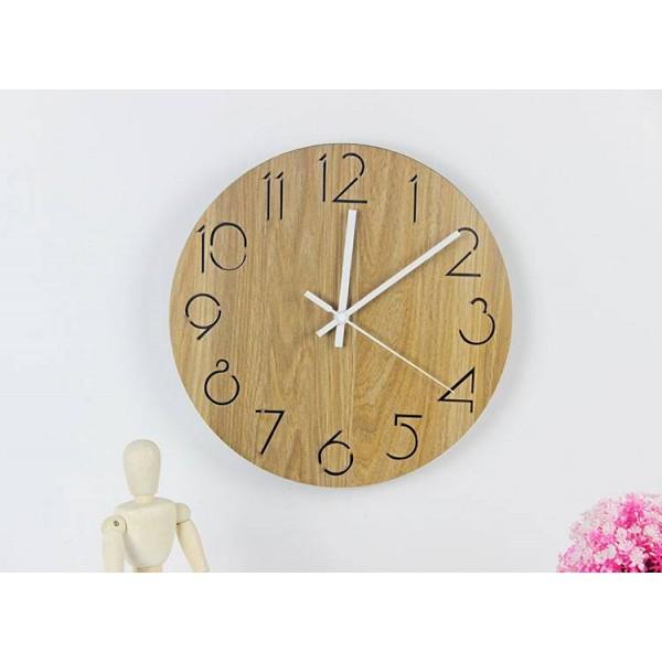 Modern minimalist fashion round wood grain wall clock Living room bedroom study mute wall clock wood Wall clocks Wall decoration