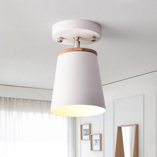 Modern Minimalist Metal Cone Shade 1-Light Rotatable Semi Flush Mount Ceiling Light in White
