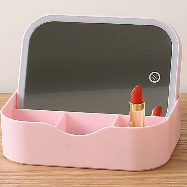 Multi-function LED makeup mirror with storage box student girl table portable dormitory fill light dressing mirror mx12261157