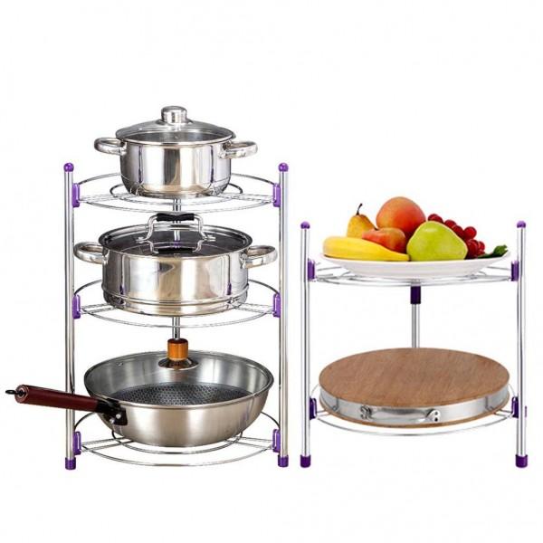 Multi-functional Kitchen Storage Rack Stainless Steel Pan Pot Organizer Rack Multi-layer Rack Height-Adjustable Shelve
