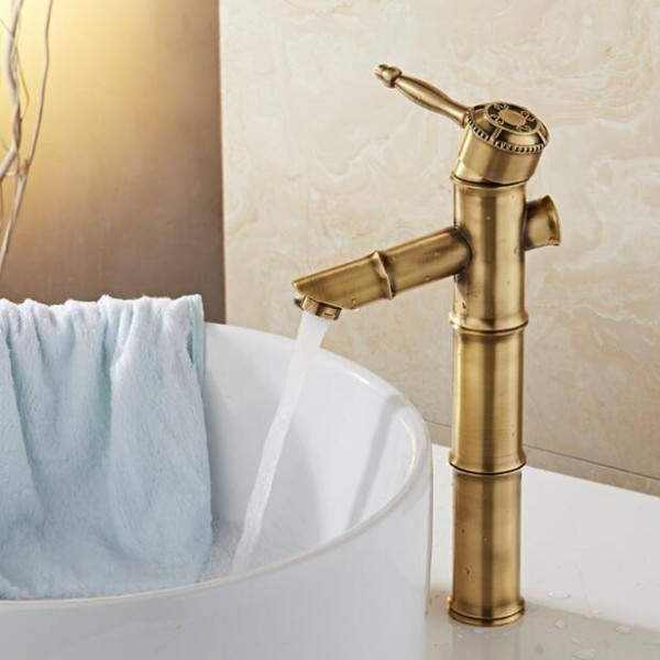 Single Handle Bathroom Antique Brass Bamboo style Hot and Cold Basin faucet Antique bronze mixer tap XT968