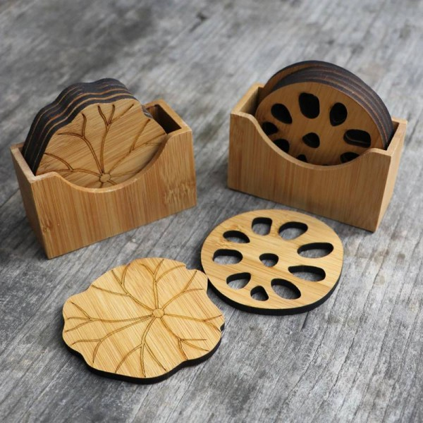 Natural bamboo Drink coaster set round Creative Placemat cup mat pad coffee cups porta copos home decoration saucer Insulation