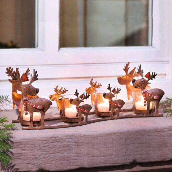 Neoclassical Candle Holder Iron Art Elk Candlelight Cup Light Light Christmas Decoration Adornment Crafts Candlestick Statue