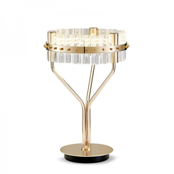 Post modern creative LED table lamp Crystal glass lampshade gold luxury plated lamp body bedroom bedside desk lamp