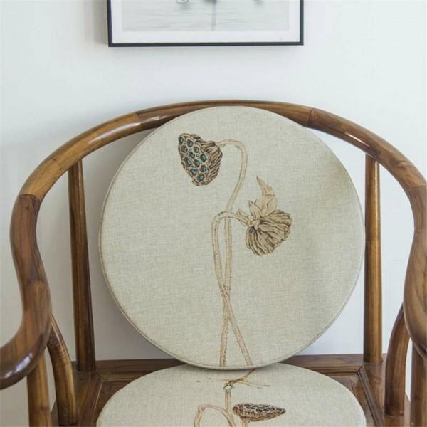 New linen fabric sponge Cushion creative Lotus leaf Round Cushion Bay window Pad solid wood Sofa Decorative cushions