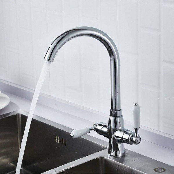 Luxury New Double Handle Hot And Cold Kitchen Sink Faucet Kitchen Mixer Chrome Black Kitchen Faucet Sink Mixer Tap Bathroom Lad 136 New Double Handle Hot And Cold Kitchen Sink Faucet Kitchen Mixer Chrome Black Kitchen