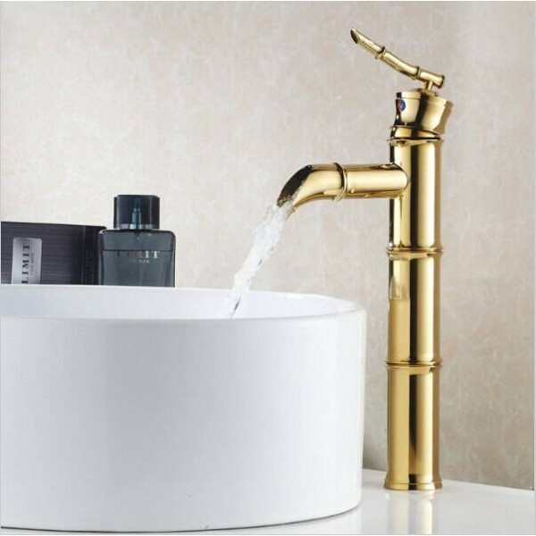 Basin Faucet Brass Basin Sink Hot and Cold vessel Waterfall Faucet golden color Faucet XR8023K