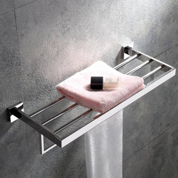 Luxury Bathroom Wall Stainless Steel Square Towel Ring Holder Rack Holder Chrome