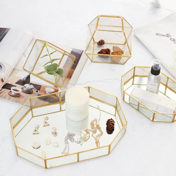 Nordic glass jewelry box creative makeup desktop ring storage tray room decorations tray display box
