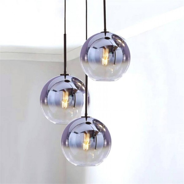 Nordic LED Pendant Light LightingtSilver Gold Glass Pendant Lamp Ball Hanging Lamp Kitchen Fixtures Dining Living Room Luminaire