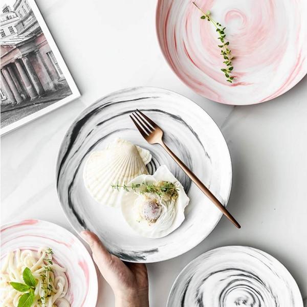 Nordic Marble Dinner Plate Ceramic Breakfast Cake Dishes Steak Western Plate Porcelain Fruit Dessert Salad Plate Tableware Home