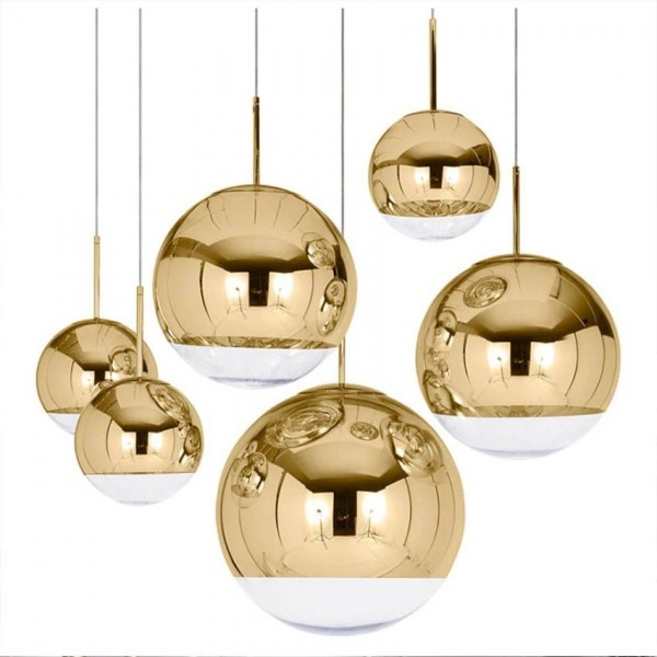 Nordic Mirror glass pendant light dia 15-40cm plated Gold Silver shade modern hang lamp for dining room Kitchen lighting fixture