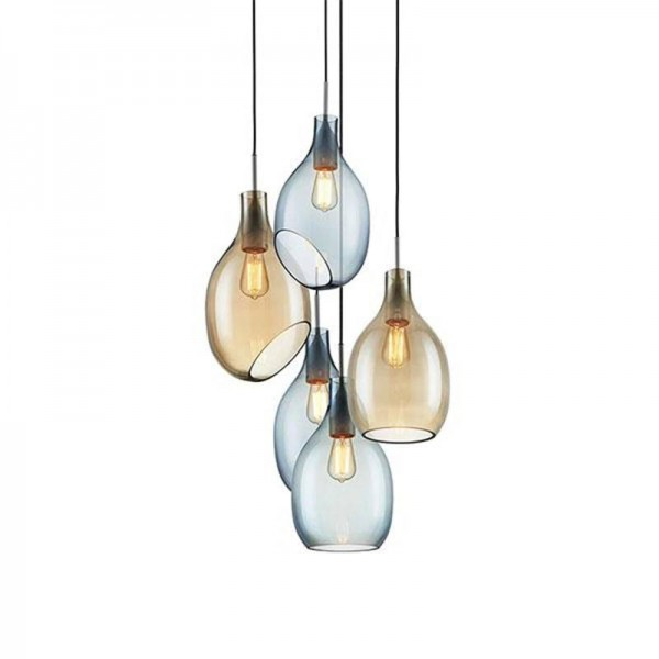 Nordic Modern simple LED glass pendant lights Living room dining room study bedroom droplight E27 LED bulb lighting fixture