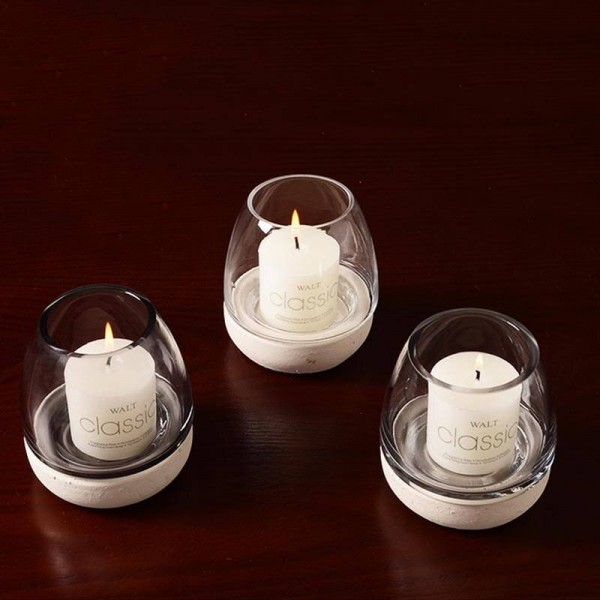 Nordic Style Candle Holder Cement Glass Aromatherapy Candle Base Candlelight Dinner Night Light Cafe Adornment Decoration Crafts