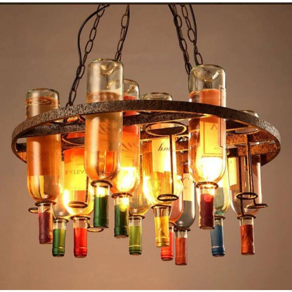 Nordic wine bottle retro chandelier lighting 60*32cm glass bottle chain hanging lamp bar restaurant cafe shop deco light fixture