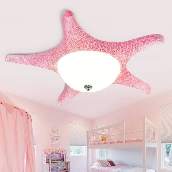 Pink Led Starfish lamp ceiling fixtures for children Kid's bedroom led glass ceiling lamps dressing room surface light