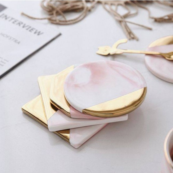 Pink Marble Coaster Creative Simple Ceramic Coaster Home Table Decoration