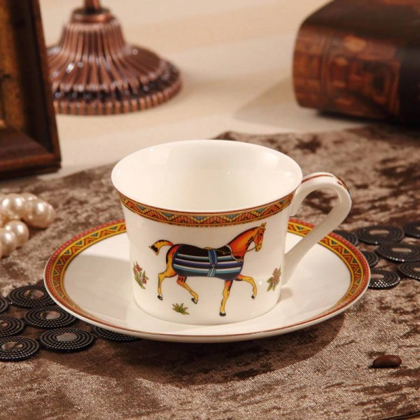 Porcelain coffee cup and saucer bone coffee cup the god horses design outline in gold tea cup and saucer cup and saucer