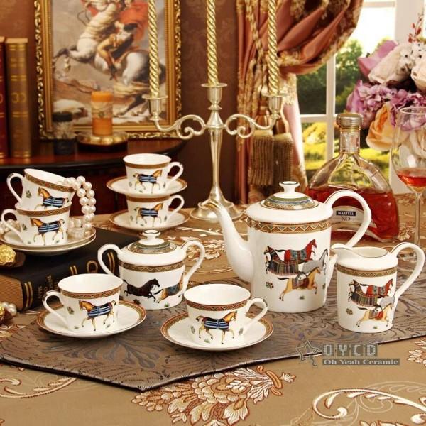 Porcelain coffee set bone god horses design outline in gold 15pcs European tea set coffee pot coffee jug cup saucer set