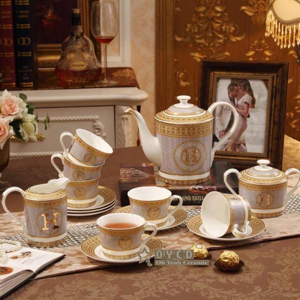 "Porcelain coffee set bone ""H"" mark mosaic design outline in gold 15pcs European tea set coffee pot coffee jug saucer set"