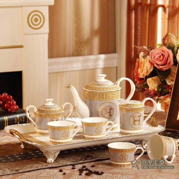 "Porcelain coffee set bone ""H"" mark mosaic design outline in gold 8pcs European tea set coffee pot coffee jug tea tray"