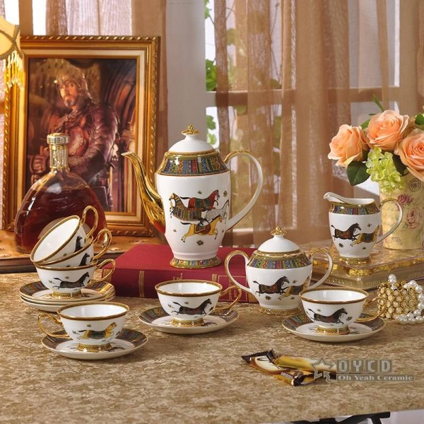 Porcelain coffee set bone the woman's head design red color outline in gold 15pcs coffee cup set coffee pot coffee jug