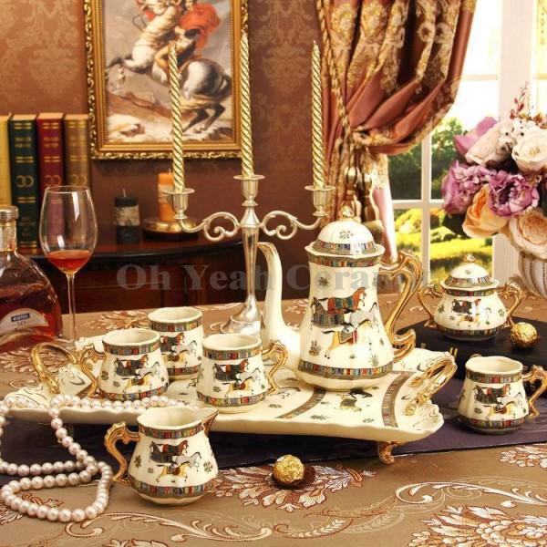Porcelain coffee set ivory porcelain god horses design outline in gold 8pcs coffee cup set coffee jug coffee pot tea tray