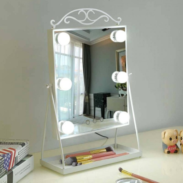 Princess style LED makeup mirror with light bulb home desktop dressing beauty fill light mirror table decoration mx12281553