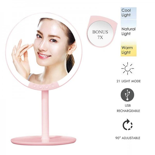 Professional 7 Inch Professional Travel Standing Makeup Vanity Mirror 66 LED Lights Dimmable 1x+Mini 7x Magnifying