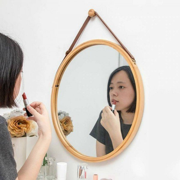 PU Leather Round Wall Mirror Decorative Mirror with Hanging Strap bathroom makeup mirror Including Hook Home Decor mx3071411