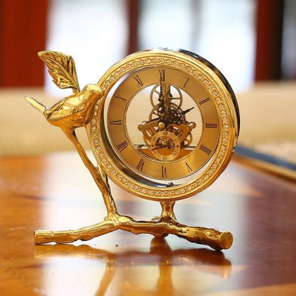 Pure copper small bird clock European study desk clock crafts pure copper wine cabinet decoration creative decoration gift