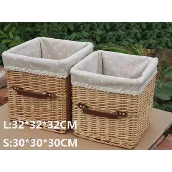 Rattan storage basket basket with handle portable TV cabinet storage basket coffee table storage drawer basket
