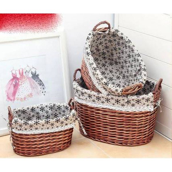 Rattan storage basket dirty clothes basket debris storage bucket large rural fabric underwear socks storage box