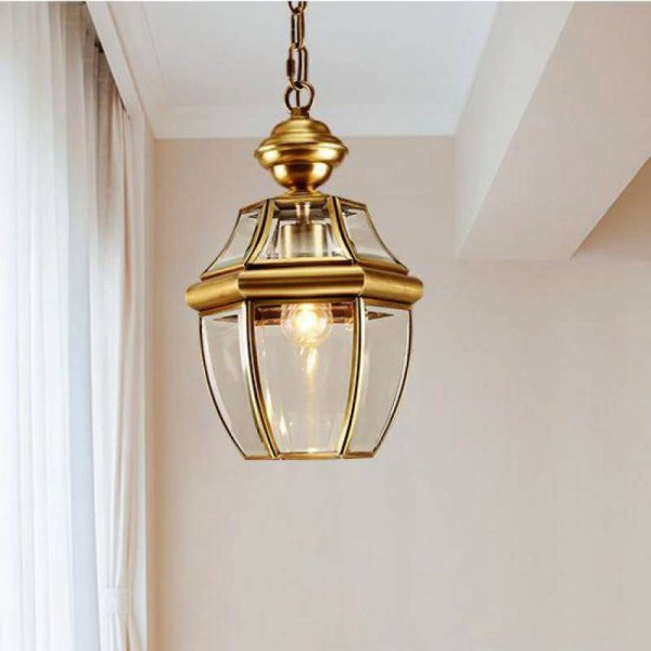 1 pcs copper Hanging lamp pendant light for Balcony Bar vintage pendant lamp E27 Corridor garden outdoor & indoor lighting