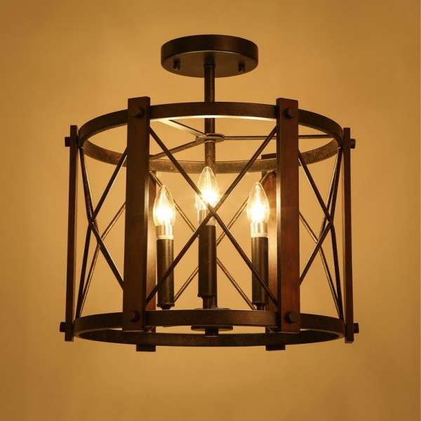 Retro Industrial 3-Light Drum-Shaped Metal & Wood Frame Semi Flush Ceiling Light in Rust