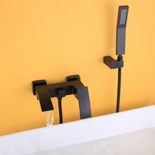 Ridge Contemporay Wall Mount Waterfall Bathtub Faucet Matte Black with Hand Shower Solid Brass