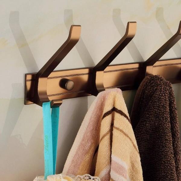 Robe Hooks Aluminum Alloy 5 Hooks Door Bathroom Accessories Wall Hanger Hat Clothes Hook Antique Home Decorative MJ-7015