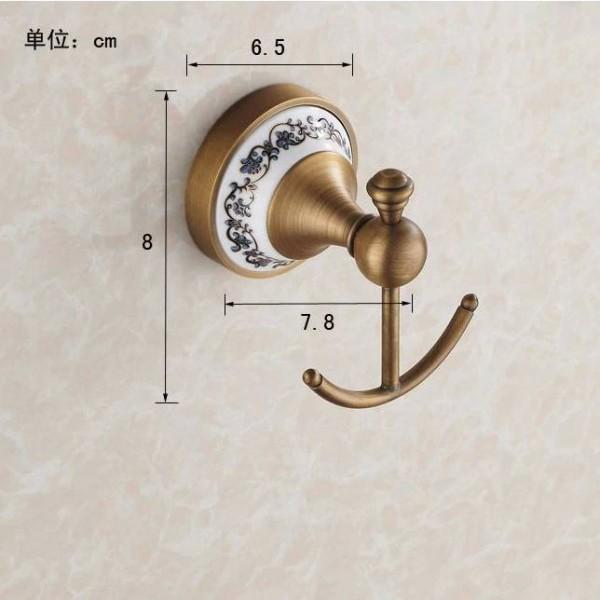 Robe Hooks European Style Antique Bronze Ceramic Robe Hook Wall Mounted Clothes Hook Coat Hook Bathroom Accessories HJ-1801F