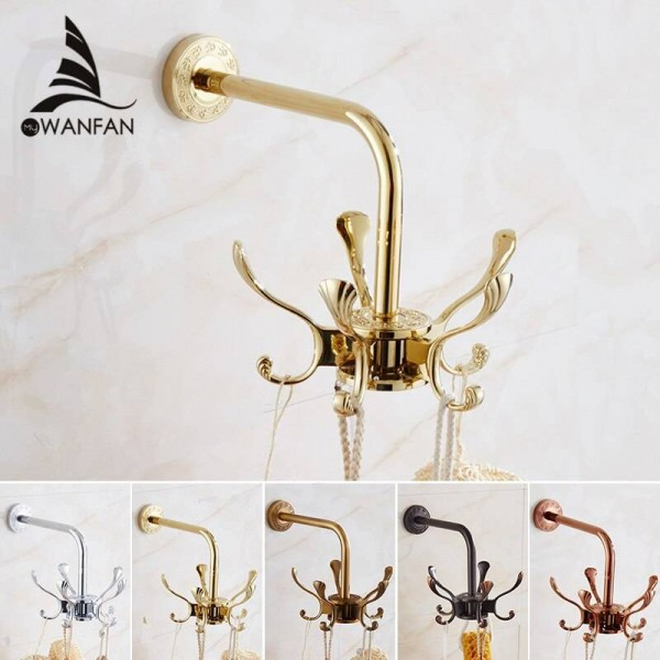 Robe Hooks Solid Brass Movable Flexible Coat Hooks Towel Bags Clothes Hangers Wall Mounted Bathroom Accessories Towel Rack 238H