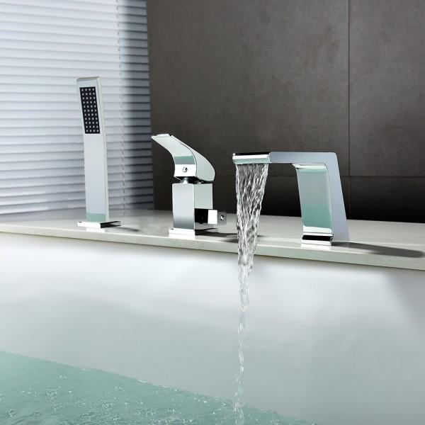 Rosa Modern Chrome Deck Mounted Waterfall Roman Tub Filler Faucet & Hand Shower Solid Brass