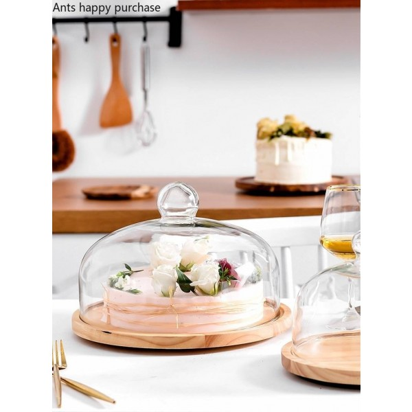 Rotating Glass transparent cover fruit plate Afternoon tea cake cover Wooden cover West Point tray Cake plate dessert plate
